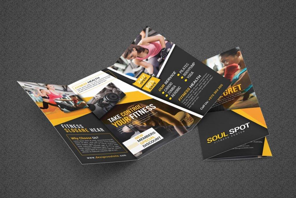 健康与健身手册折页模版素材下载Fitness Tri Fold Brochure插图(2)