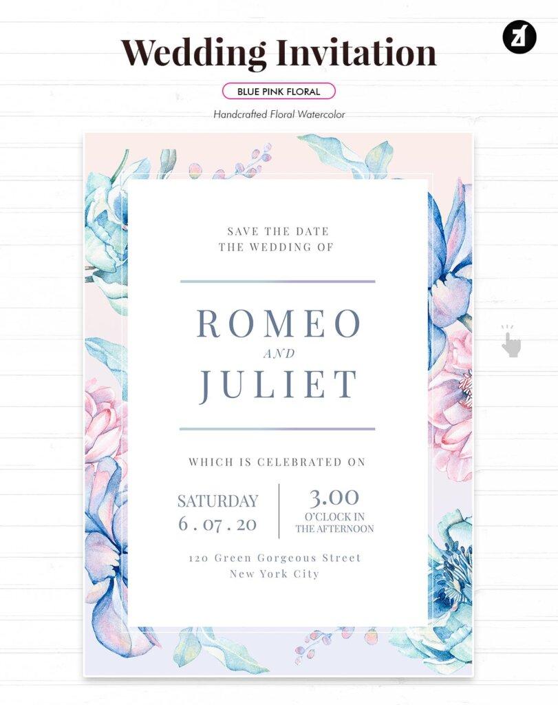 蓝粉红色手绘水彩画传单海报模板Floral Hand-drawn Watercolor Wedding Invitation EFMSCVH插图(2)
