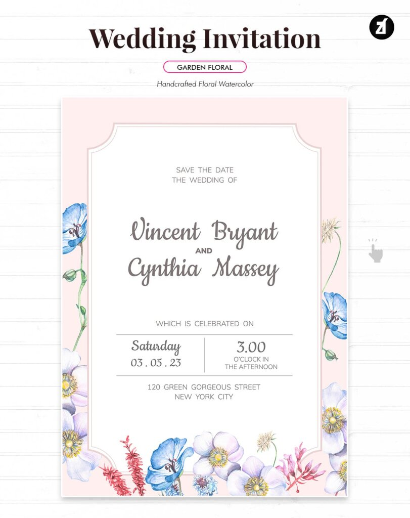 婚礼海报易拉宝素材模板素材下载Floral Hand drawn Watercolor Wedding Invitation BPSRDN3插图(2)