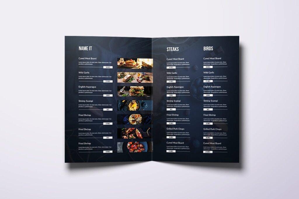 黑色主题西餐美食料理菜单/折页模板素材下载Fresh Minimal Bifold A4 US Letter Food Menu插图(2)