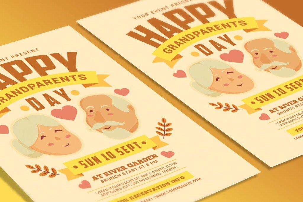 感恩节日活动海报传单模版素材下载Grandparents Day Flyer插图(2)