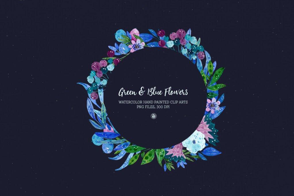 绿色和蓝色的花手绘水彩花/邀请函贺卡装饰图案素材模板下载Green and Blue Flowers插图(2)