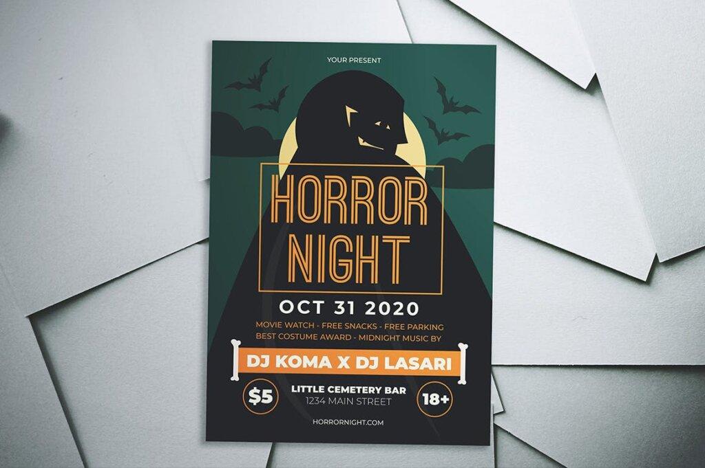 万圣节恐怖夜创意传单海报模板素材下载Halloween Horror Night Flyer插图(2)
