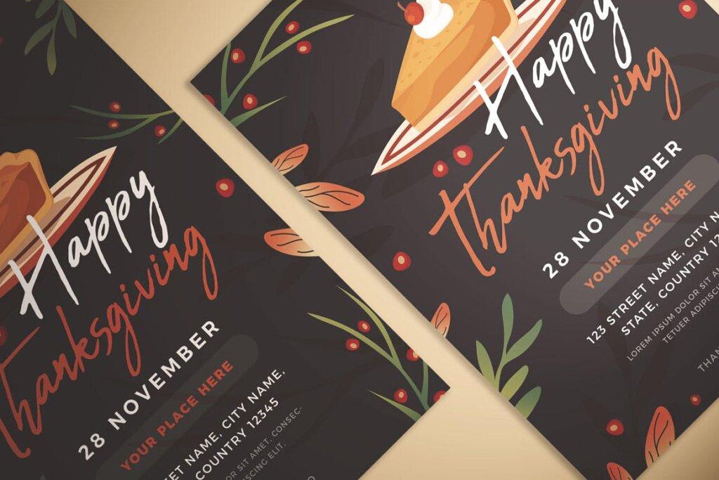 感恩节快乐传单海报模版素材下载Happy Thanksgiving Flyer插图(2)