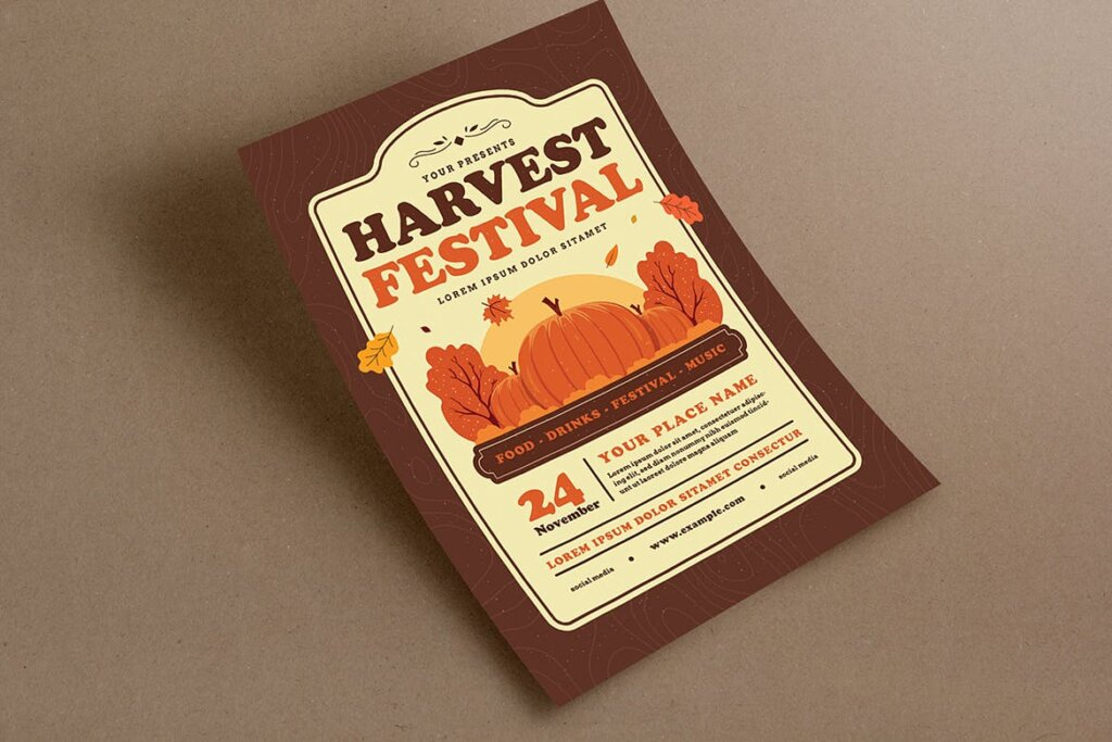 丰收季节庆祝活动传单海报模版素材Harvest Festival Event Flyer插图(2)