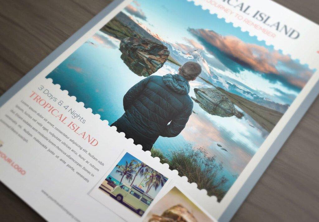 假日旅行热带岛屿旅行传单海报模板素材Holiday Travel Journey Flyers RX65B8插图(2)