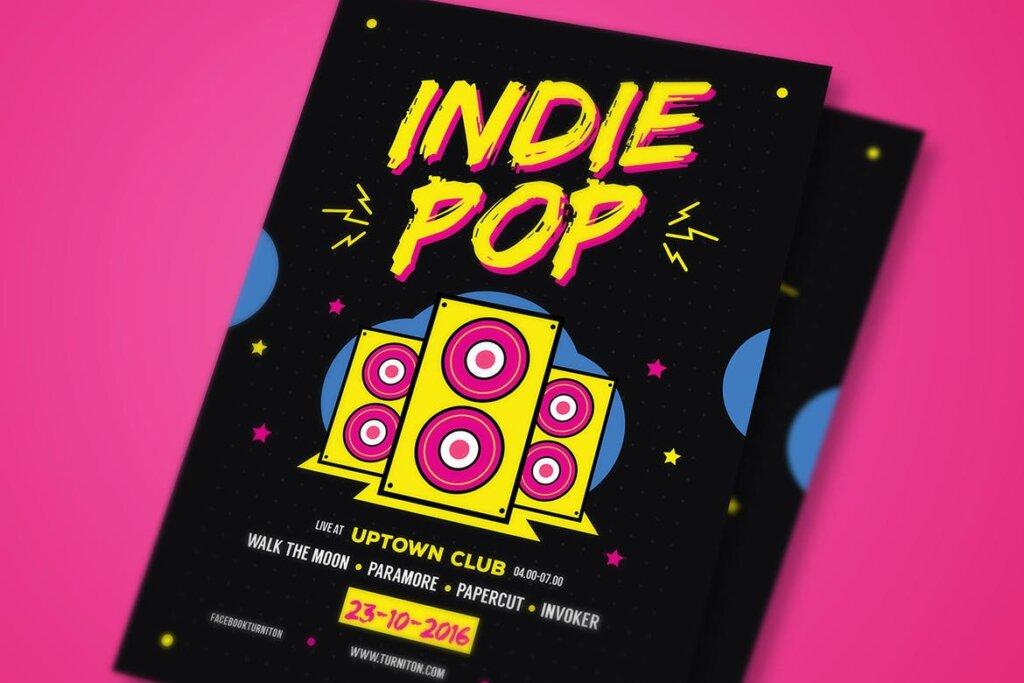 POP创意海广告报传单模板素材下载Indie Pop Music Flyer插图(2)