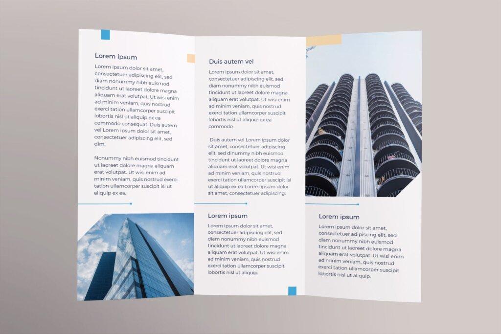 金融保险公司折页宣传册三折模板素材下载Insurance Agency Brochure Trifold插图(2)