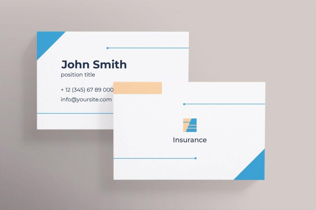 商务简约名片设计模板素材下载Insurance Agency Business Card插图(2)