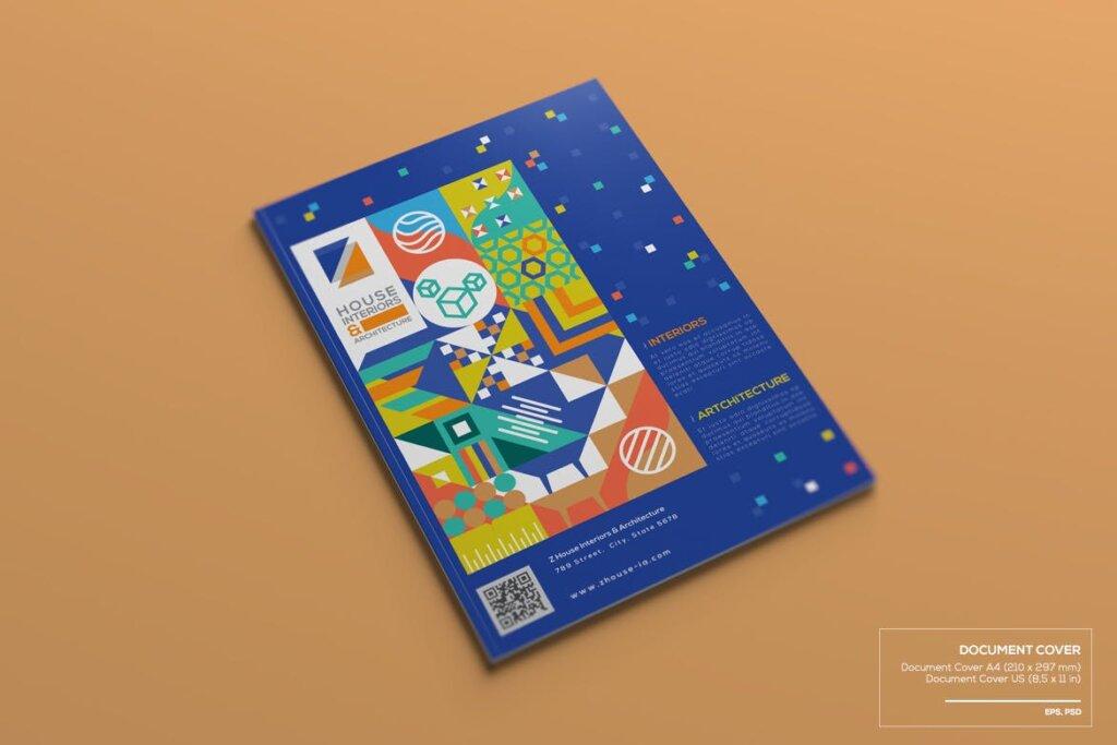 几何纹理图案装饰品牌宣传海报传单模板素材下载Interiors & Architecture – Print Pack Template插图(2)