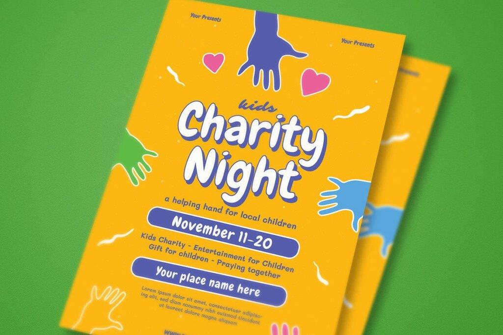夏令营活动海报传单模版素材Kids Charity Night Event Flyer插图(2)