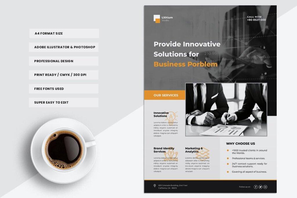 企业商务传单海报模板素材下载LITHIUM Multipurpose Business Flyer插图(2)