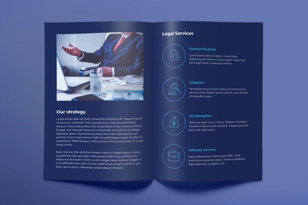 简约律师事务所宣传折页模板素材Law Company Brochure Bifold插图(2)