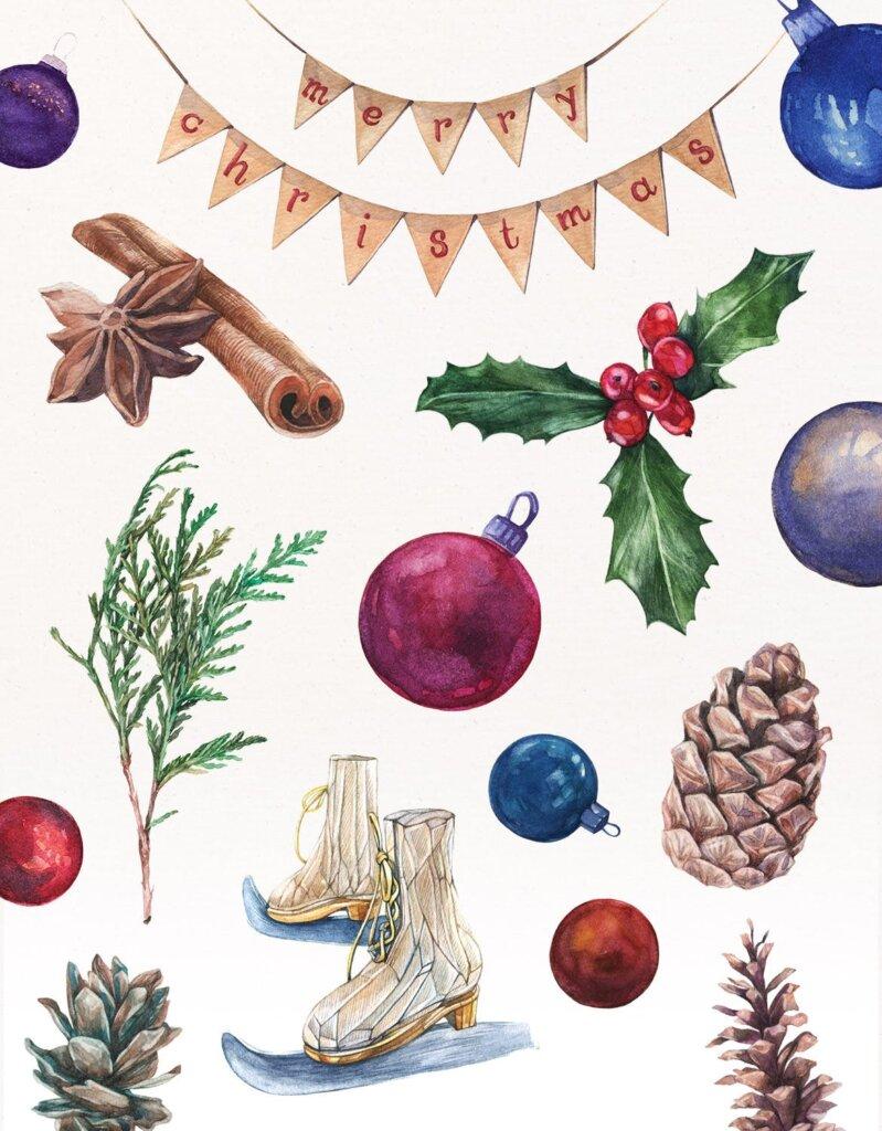 甘草圣诞水彩画装饰图案纹理/圣诞节周边产品素材Licorice Christmas Watercolor Kit插图(2)