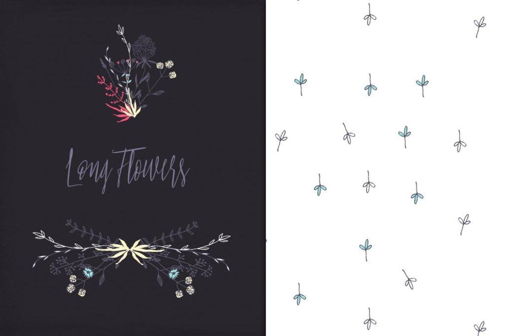 古典沙发装饰图案花卉图案纹理素材Long Flowers UBPGHU插图(2)