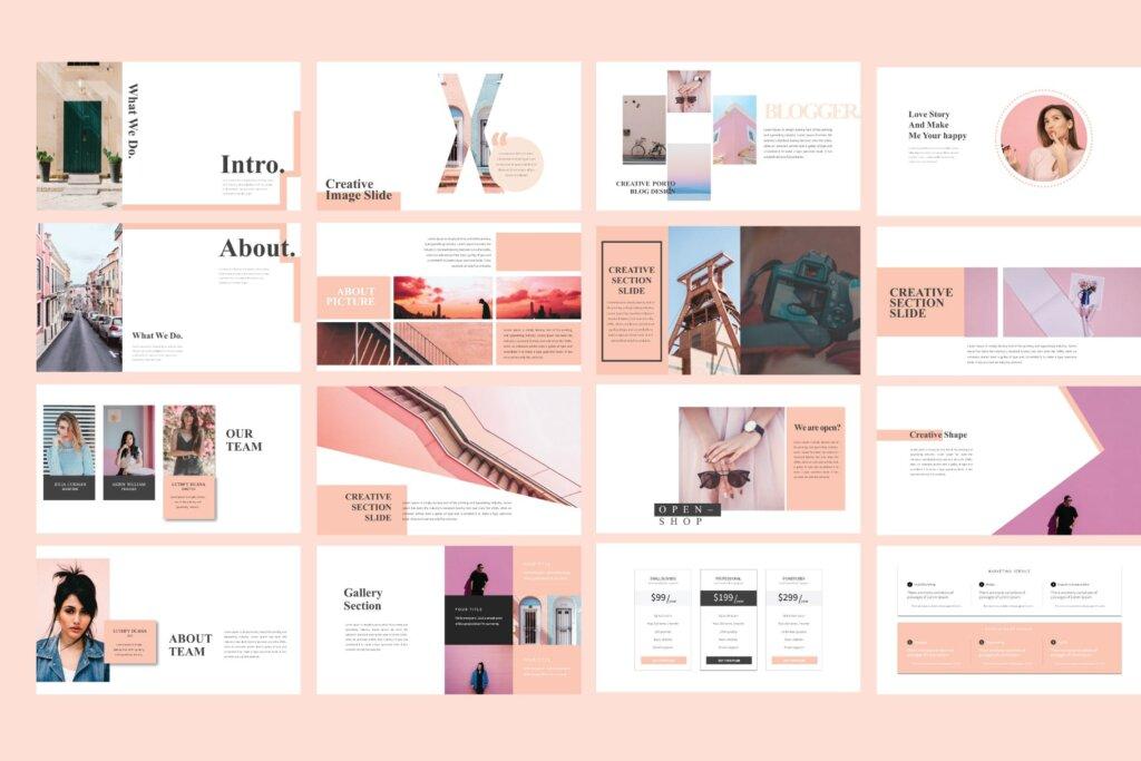 女性时尚品牌产品介绍数据幻灯片ppt模版Lucky Powerpoint Template LS插图(2)