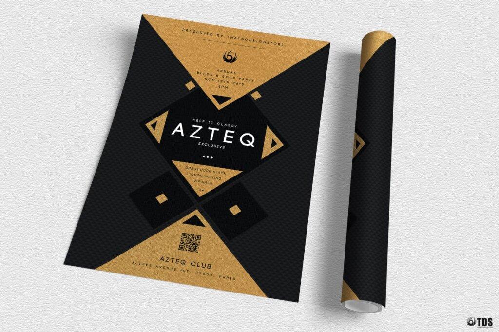 创意几何拼图企业发布会传单海报模板素材下载Minimal Black and Gold Flyer Template V3插图(2)