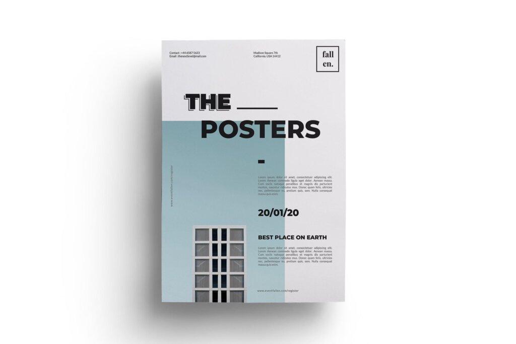简约设计设计讲座/用户体验大会海报传单模板Minimal Event Flyer 3W6EW94插图(2)