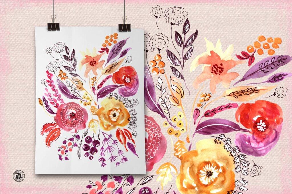 精致混合装饰红色花卉图案纹理素材Mixed Media Flowers P74RCD插图(2)