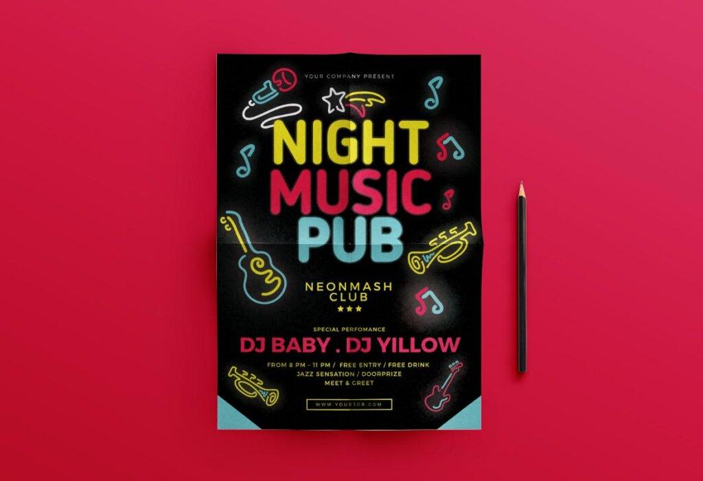 音乐酒吧派对活动传单海报模板素材Music Pub Flyer插图(2)