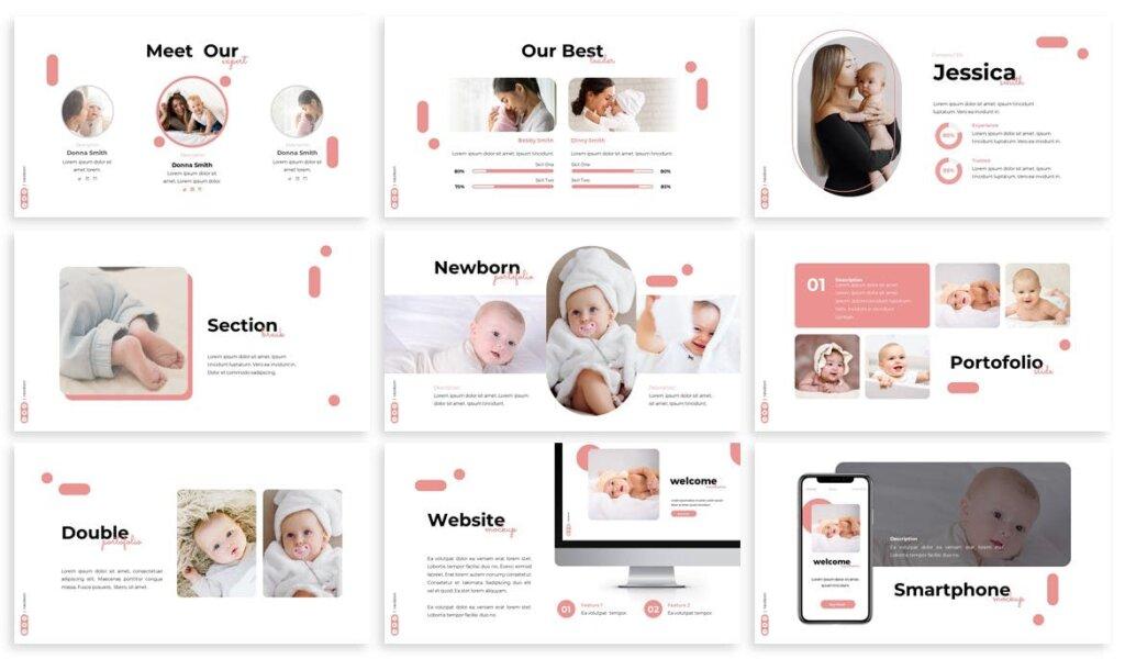 新生婴儿商店品牌策划提案业务演示幻灯片模板下载Newborn Babyshop Powerpoint Template插图(2)