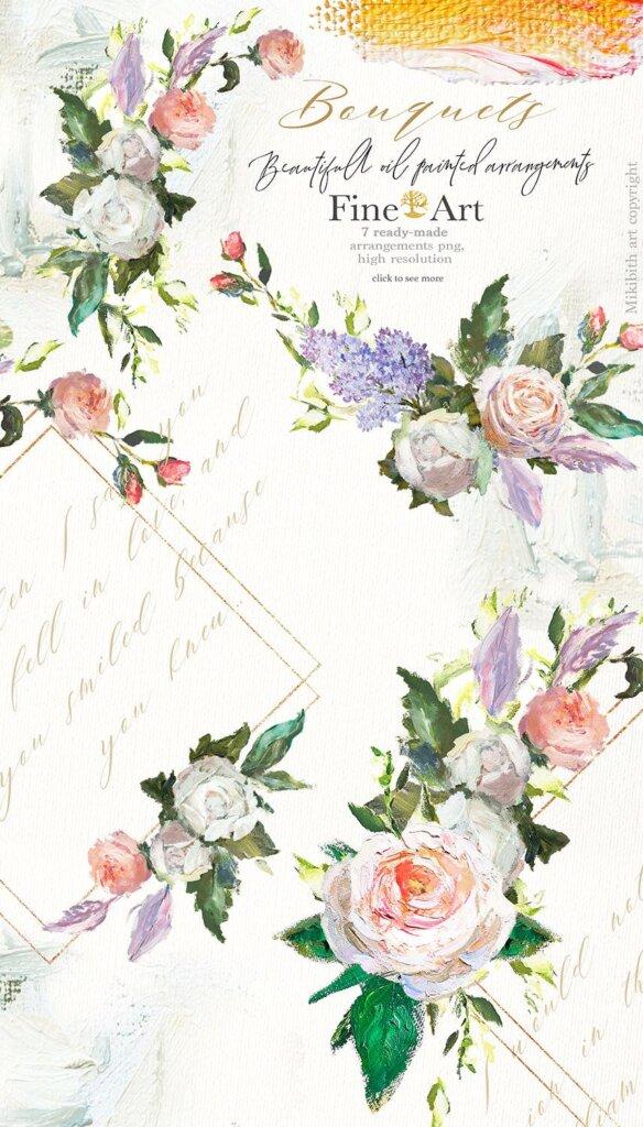 油画装饰图案婚礼邀请函装饰图案下载Oil painted Fine Art roses collection插图(2)