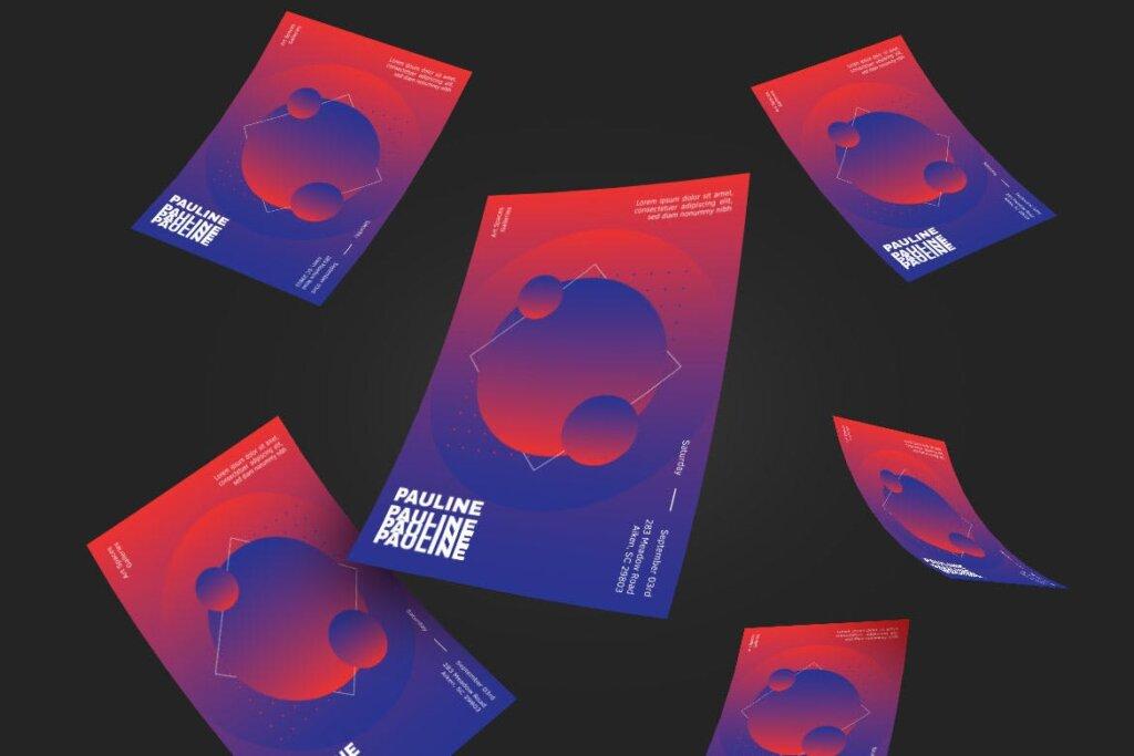 企业新产品发布会海报传单模板素材下载PAULINE Poster Design插图(2)
