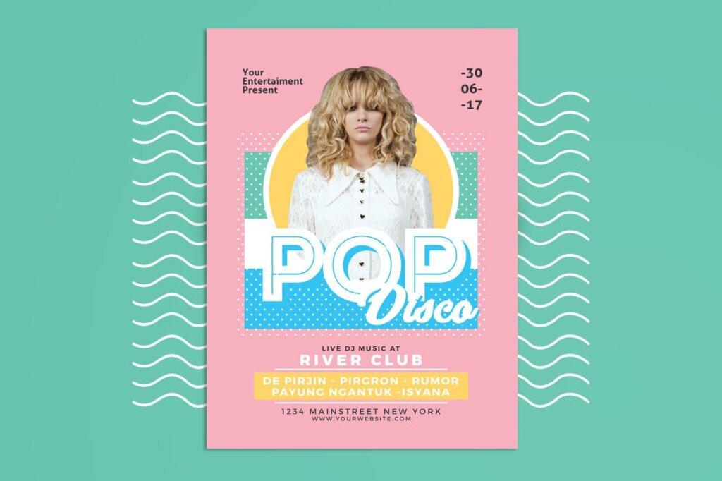 简约马卡龙配色pop广告海报传单模板素材下载Pop Disco Flyer插图(2)