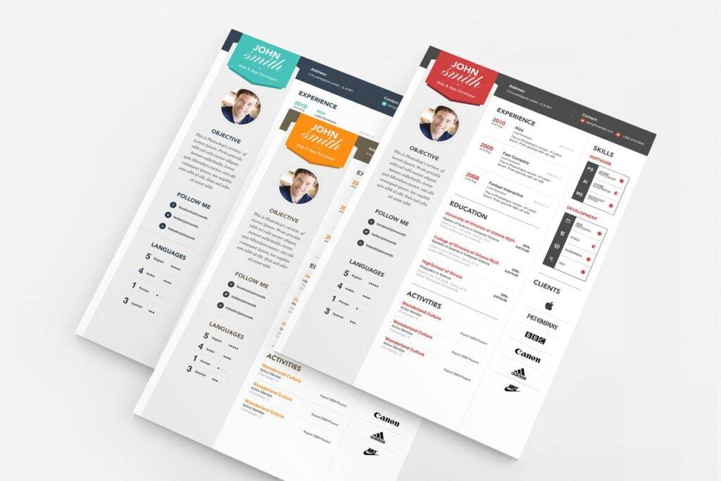 现代互联网公司简历海报传单模版素材Professional Resume Template Smith插图(2)