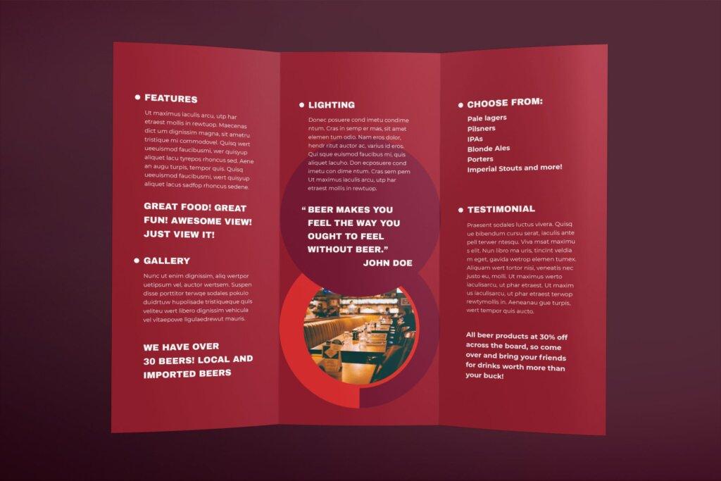 红色产品宣传模板素材下载Pub Brochure Trifold插图(1)
