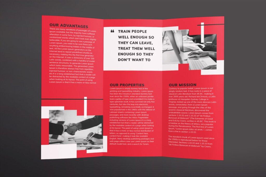 红色企业商务产品商务折页传单模板素材下载Recruitment Firm Brochure Trifold插图(2)