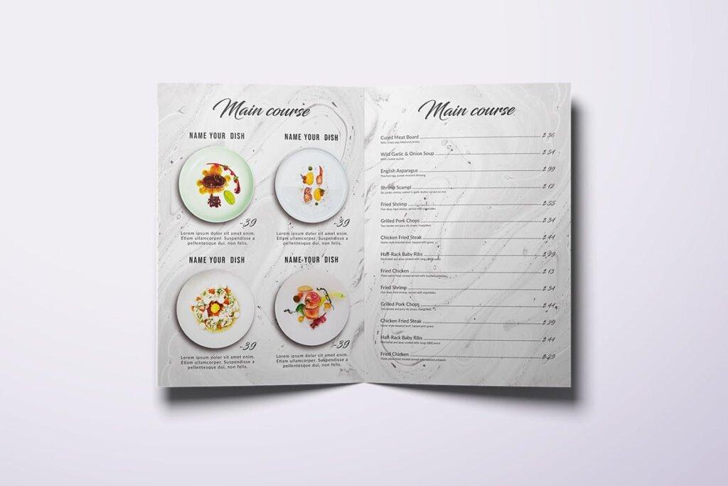 简约文艺美食餐厅食品菜单模板素材下载Restaurant Bifold A4 US Letter Minimal Food Menu插图(2)