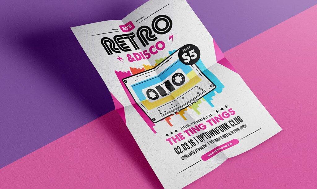 复古迪斯科摇滚音乐传单海报模板素材下载Retro Disco Flyer插图(2)