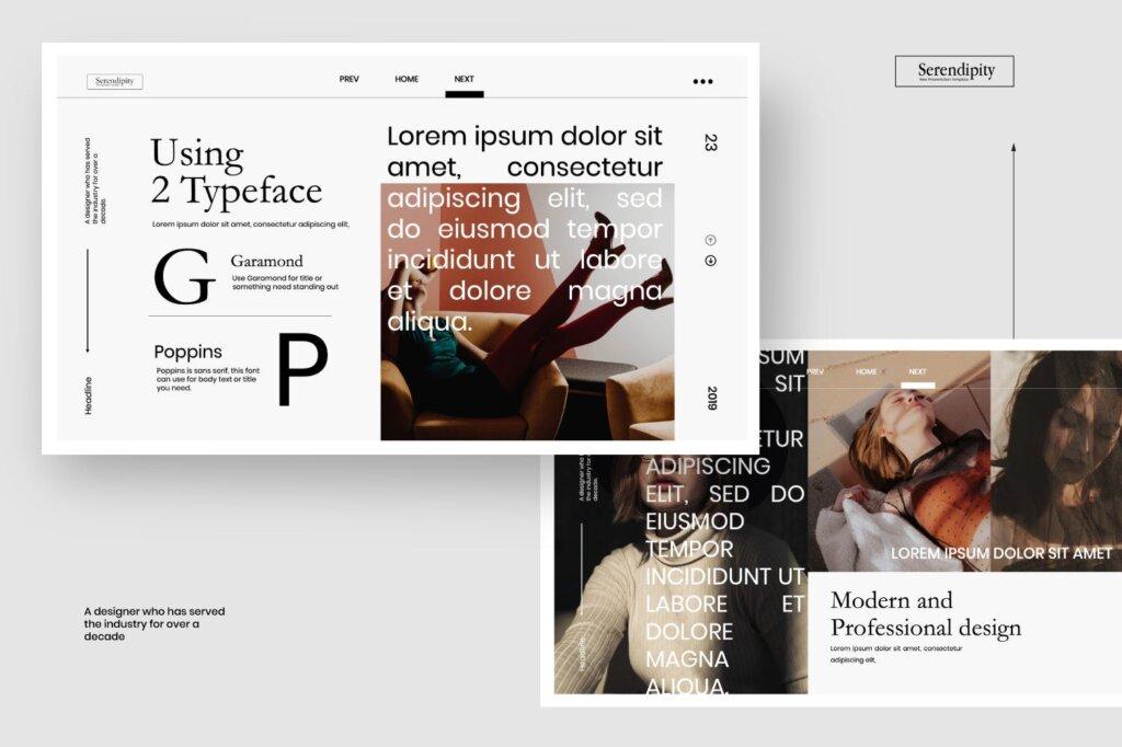 企业商务汇演素材PPT幻灯片模板Serendipity Modern Fashion Design Powerpoint插图(2)