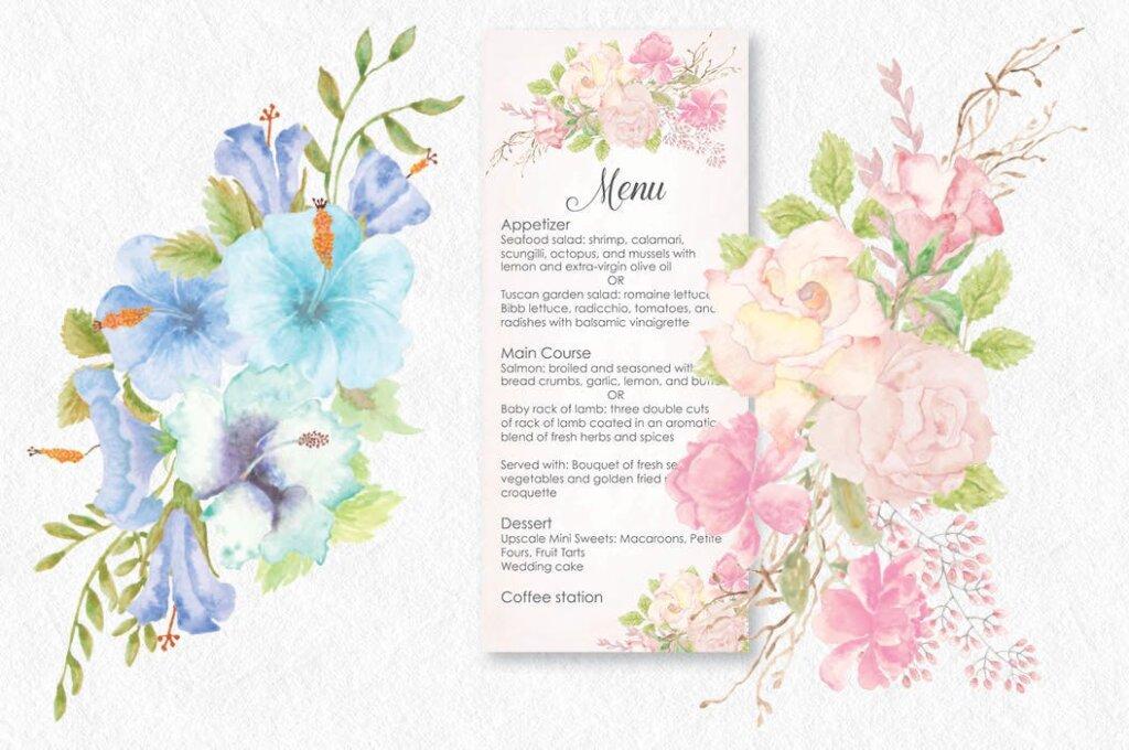 婚礼邀请函装饰图案纹理/电视背景墙装饰图案纹理素材Set of 8 Watercolor Clip Art Sprays I插图(2)