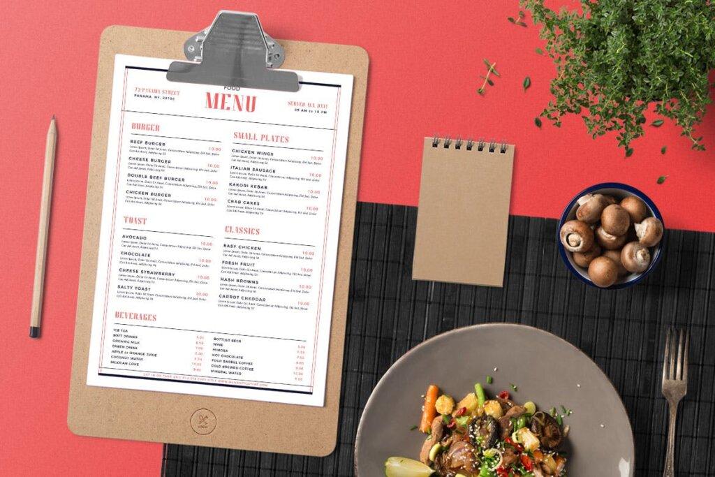 简单的现代食品菜单美食传单模板素材Simple Modern Food Menu插图(2)
