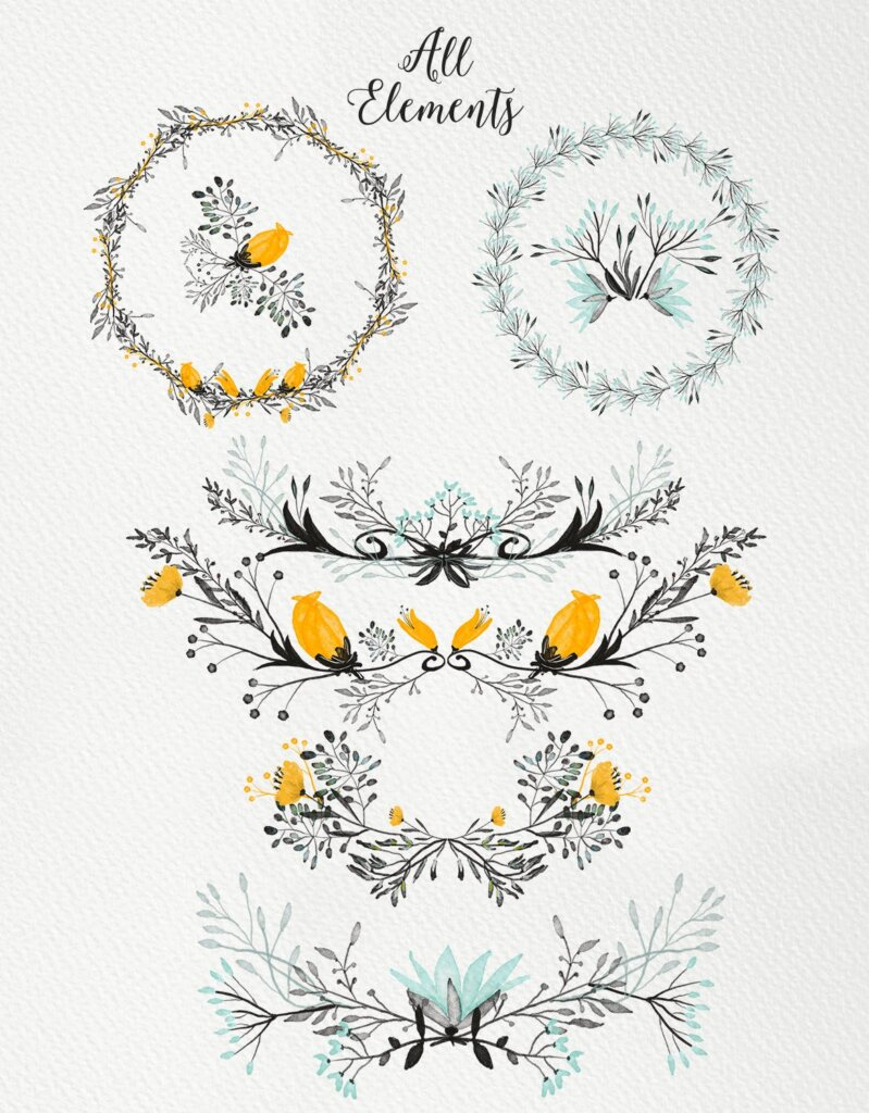 小灰花邀请函装饰图案纹理素材下载Small Grey Flowers ZZKA9A插图(2)