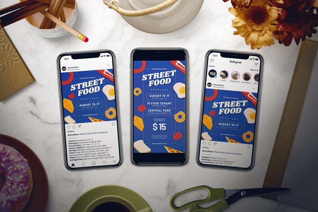街头美食节宣传单海报模板素材下载Street Food Festival Flyer Set插图(2)