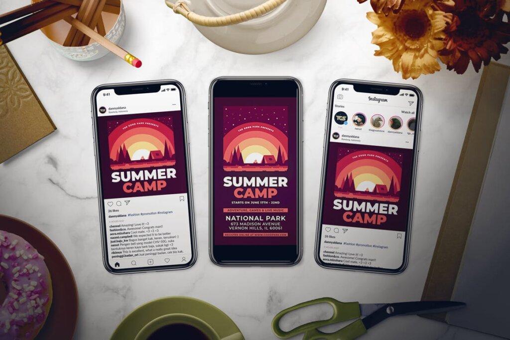 夏令营海报宣传单素材模板Summer Camp Flyer Set GZVSED5插图(2)