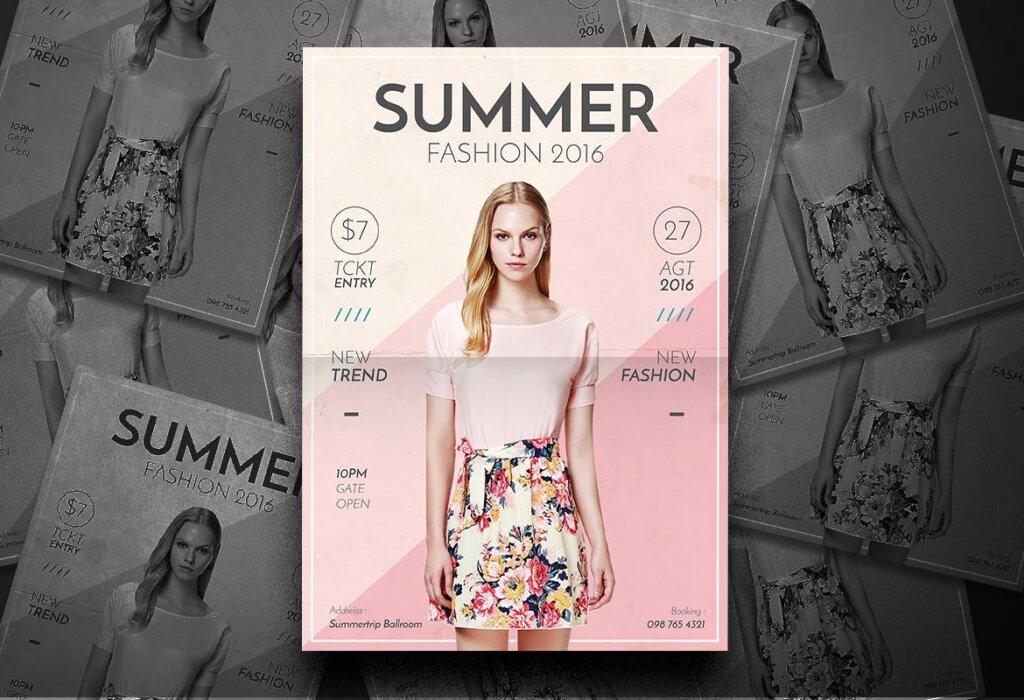 夏季时尚服装促销传单海报模板素材Summer Fashion Flyer 4EVN78插图(2)