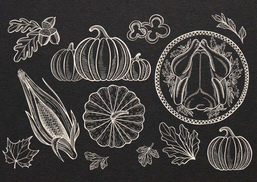 感恩节秋天蔬菜手绘食品装饰图案纹理素材下载Thanksgiving Food Illustrations插图(2)