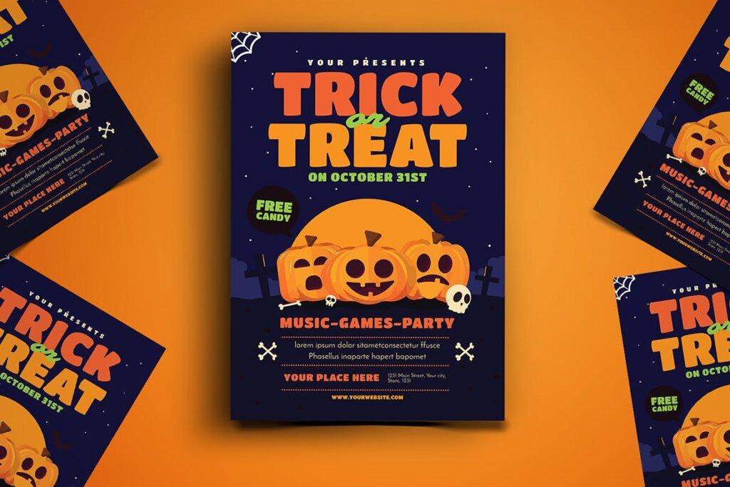 卡通南瓜主题万圣节宣传互动派对传单模版素材下载Trick or Treat Halloween Event Flyer插图(2)