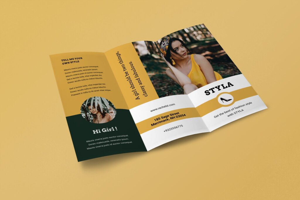 高端时尚行业传单海报模板素材下载Trifold Fashion Business Flyer插图(2)