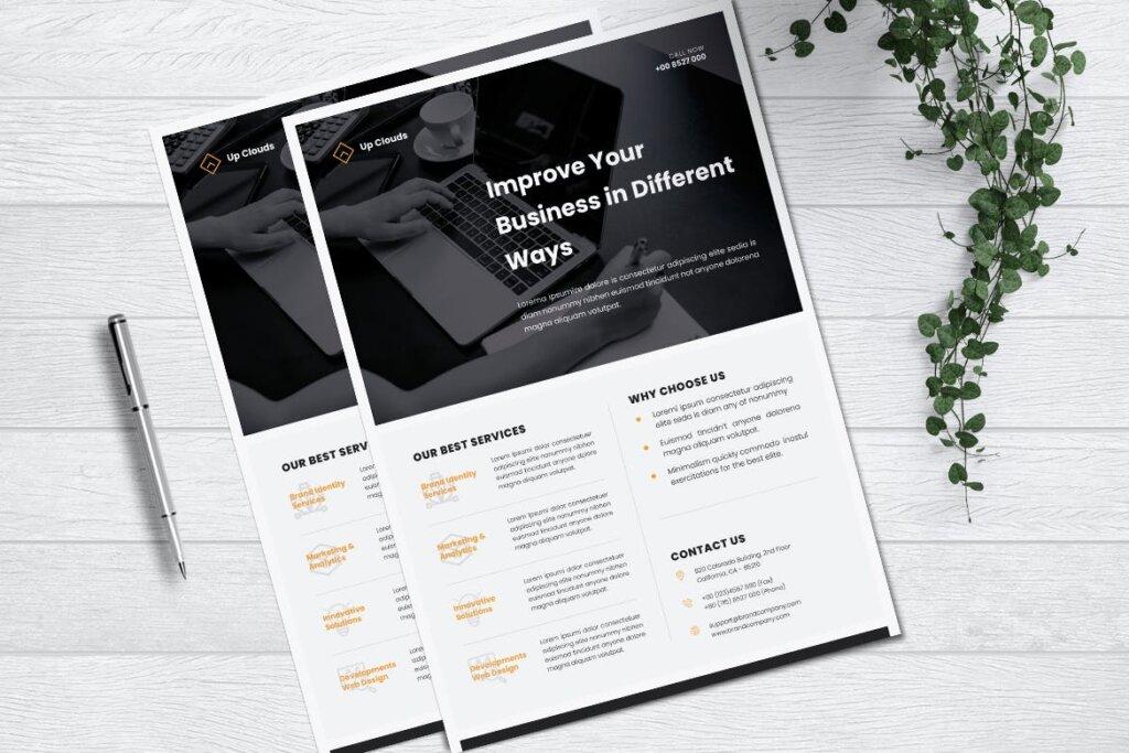 企业商业传单模板产品介绍模版素材下载UPCLOUDS Multipurpose Business Flyer插图(2)
