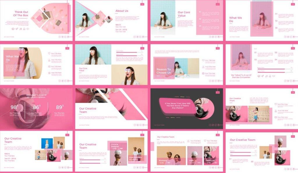 粉色女性时尚行业调研报告幻灯片PPT模版Vale Creative Keynote插图(2)