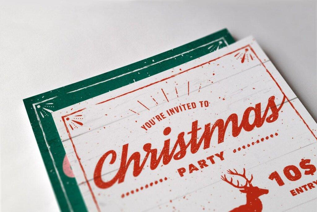 乡村传单/海报圣诞晚会活动传单模版素材Vintage Christmas Party Flyer插图(1)