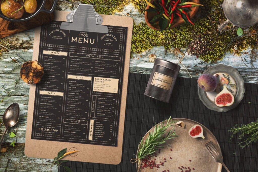 高端餐厅美食菜单模板素材下载Vintage Food Menu 56DZKS插图(2)