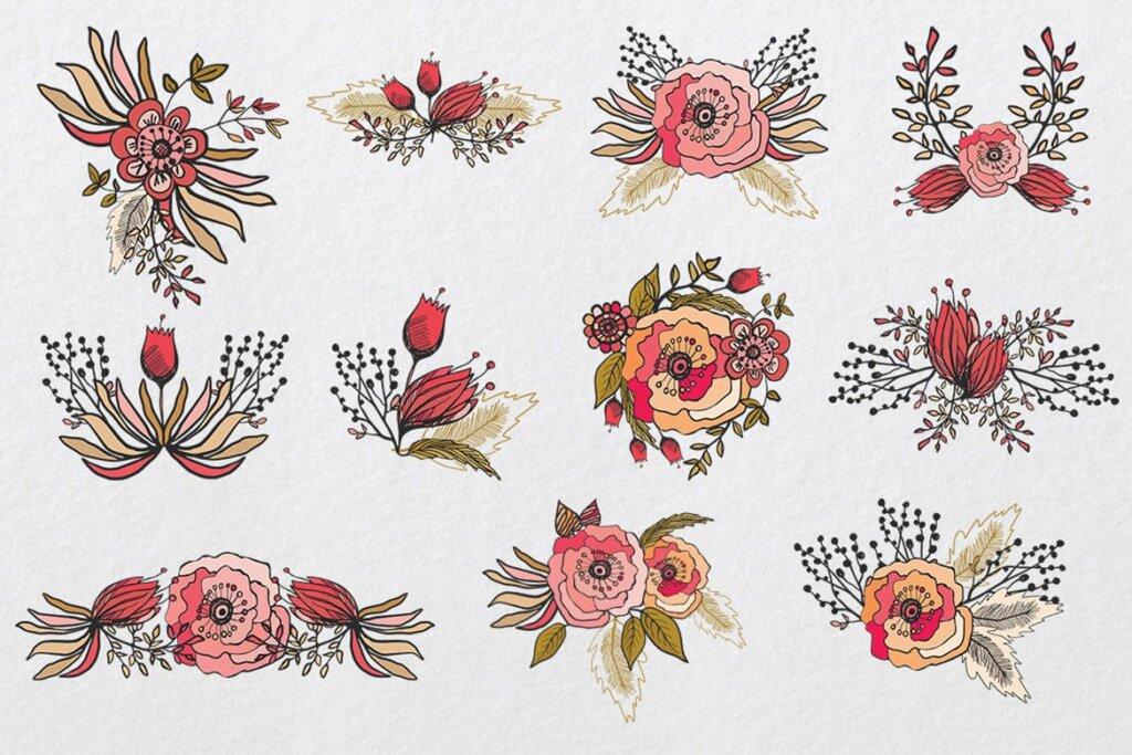 时尚服装品牌装饰图案纹理素材Warm Flowers CN55XA插图(2)