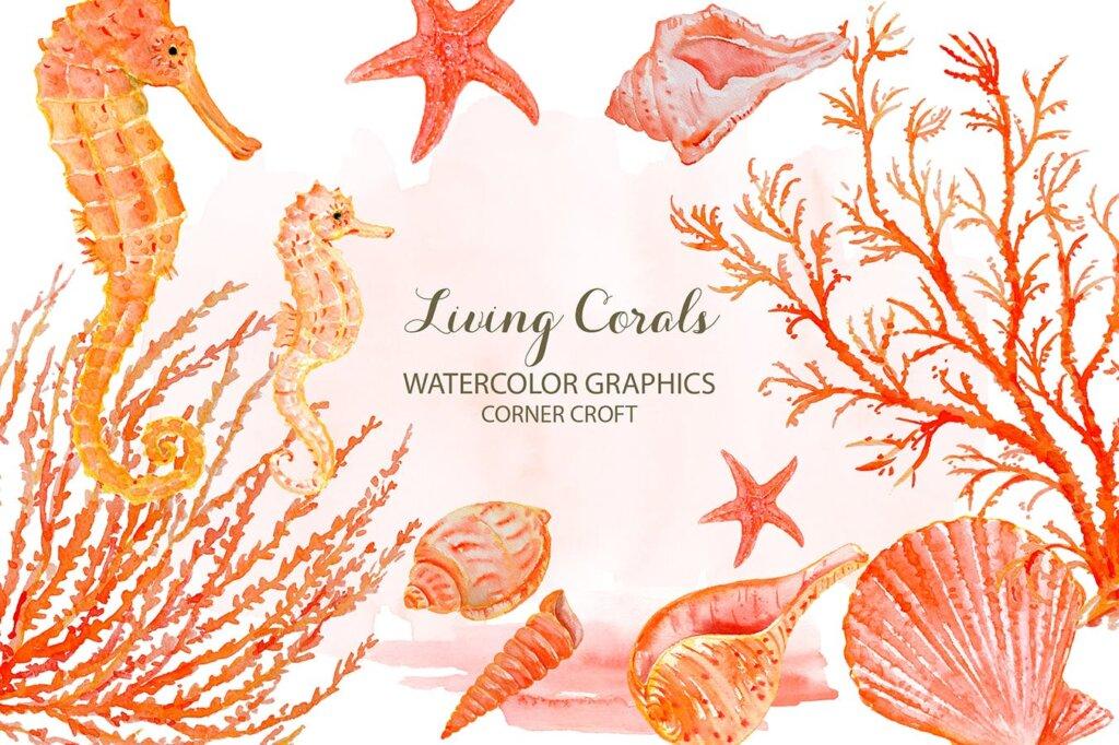 海洋动植物水彩剪纸活珊瑚装饰图案纹理素材Watercolor clipart living Coral插图(2)