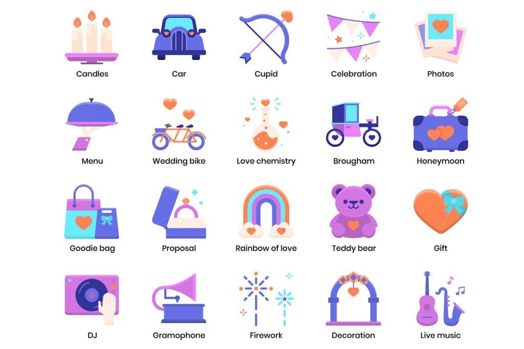 88个婚礼策划相关图标素材下载88 Wedding Flat Icons插图(3)